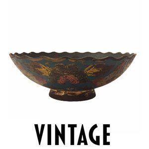 VTG Floral Enamel Brass Bowl